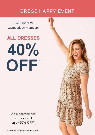 All Dresses 40% Off