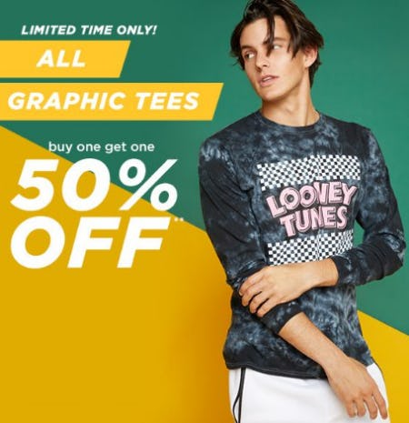 All Graphic Tees Buy One, Get One 50% Off from rue21