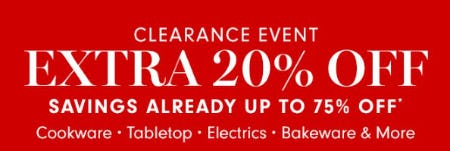 Clearance Event: Extra 20% Off from Williams-Sonoma