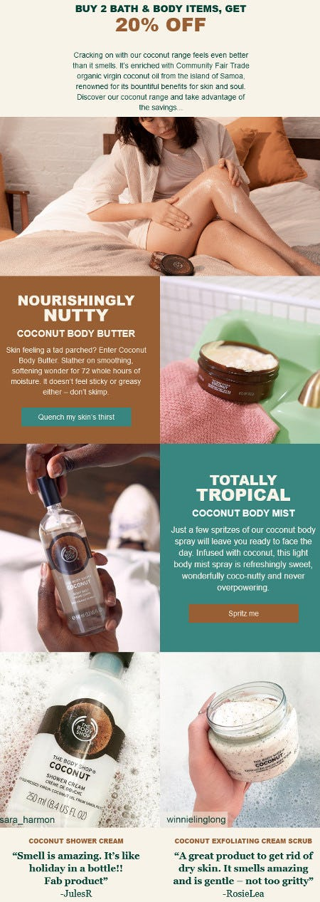 Buy 2, Bath & Body Items, Get 20% Off from The Body Shop