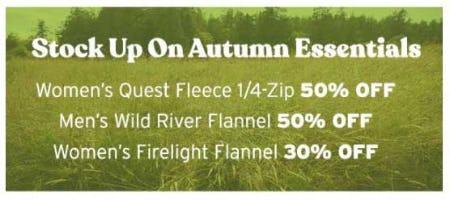 Autumn Essentials up to 50% Off from Eddie Bauer