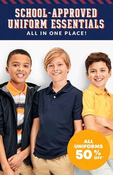 All Uniforms 50% Off from Children's Place, The