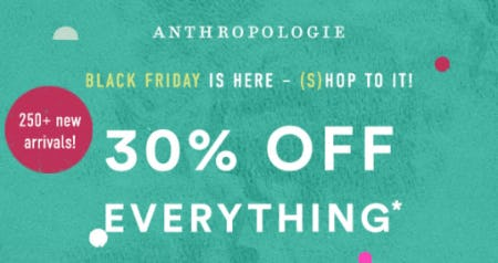30% Off Everything from Anthropologie