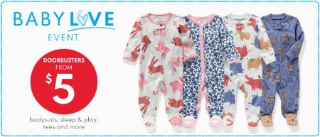 Doorbusters from $5 Bodysuits, Sleep & Play, Tees and More from Carter's