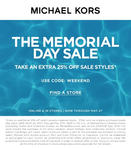 The Memorial Day Sale from MICHAEL KORS