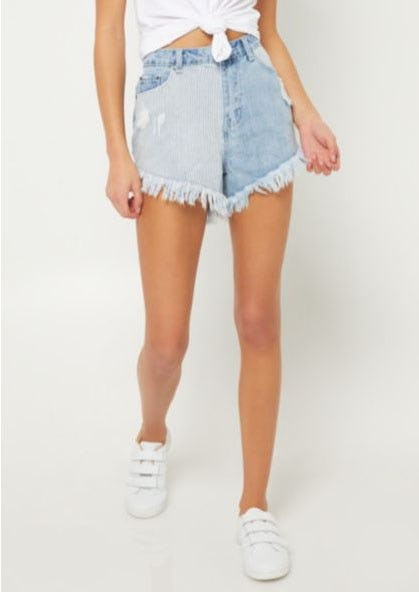 High Waisted Railroad Striped Shorts
