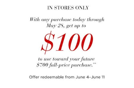 Get Up to $100 With Any Purchase from Saks Fifth Avenue