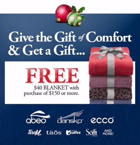 Free $40  Blanket With Purchase of $150 or More
