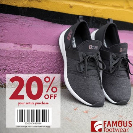 20% OFF PURCHASE from Famous Footwear