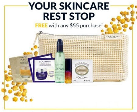 Your Skin Care Rest Stop Free With Any $55 Purchase from L'Occitane