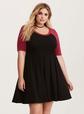 Beet Red & Black Jersey Raglan Skater Dress