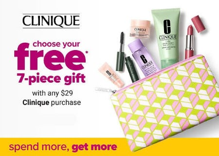 Free 7-Piece Gift with Clinique Purchase from Belk
