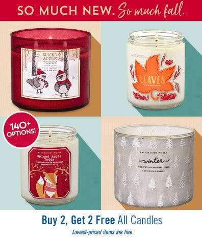 Buy 2, Get 2 Free All Candles from Bath & Body Works