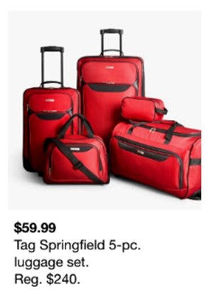 $59.99 Tag Springfield 5-Pc. Luggage Set from macy's