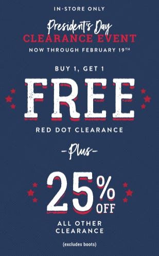 President's Day Clearance Event