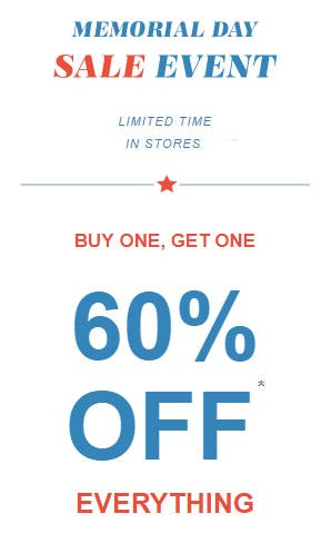 BOGO 60% Off Memorial Day Sale Event from maurices