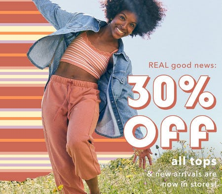 30% Off All Tops from Aerie