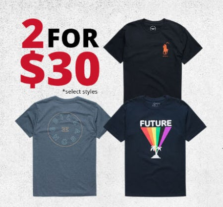 Graphic Tees 2 for $30 from Tillys