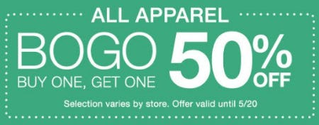 All Apparel Buy One, Get One 50% Off from Charming Charlie