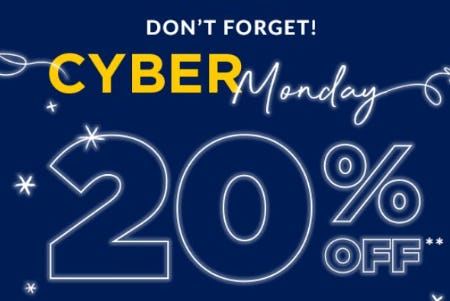 Cyber Monday Exclusive: 20% Off