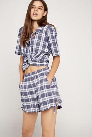 Plaid Side-Tie Short