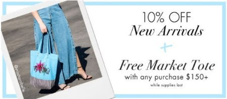 10% Off New Arrivals plus Free Market Tote with Any Purchase $150+ from Henri Bendel