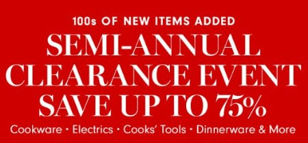 Semi-Annual Clearance Event from Williams-Sonoma