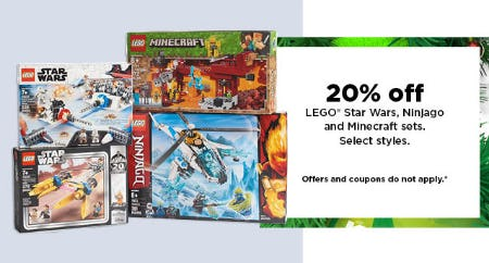 20% Off LEGO Star Wars, Ninjago & Minecraft Sets from Kohl's