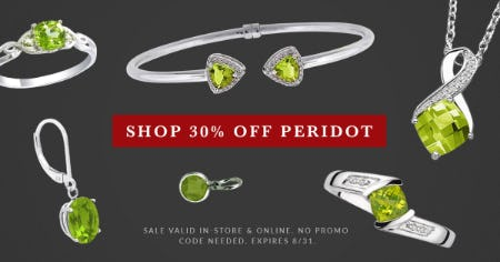30% Off: August Peridot Birthstone Jewelry Sale from Ashcroft & Oak Jewelers