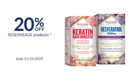 20% Off Reserveage Products from The Vitamin Shoppe