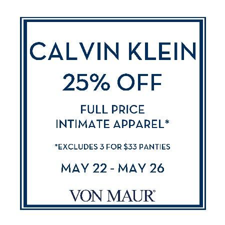 Calvin Klein 25% off from Von Maur