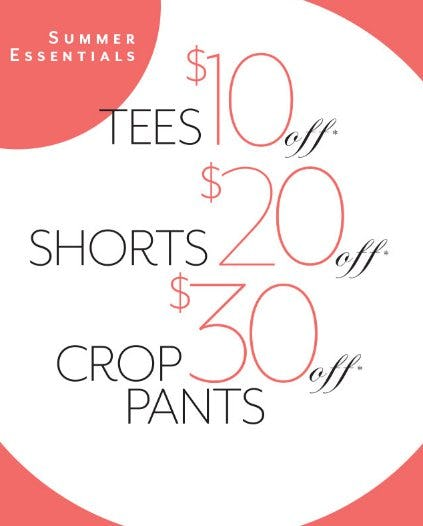 Tees $10 Off, Shorts $20 Off & Crop Pants $30 Off from White House Black Market