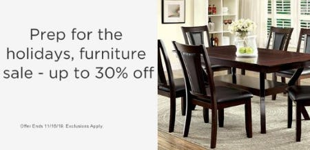 Furniture Sale up to 30% Off
