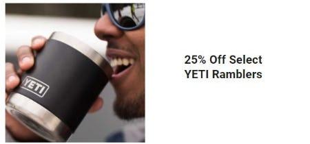 25% Off Select YETI Ramblers