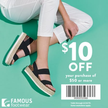 Famous Footwear $10 off $50 Summer Offer from Famous Footwear