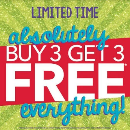 ABSOLUTELY THE ENTIRE STORE IS BUY 3 GET 3 FOR FREE from Claire's