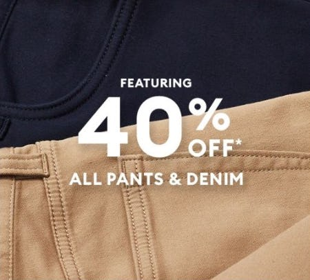 40% Off All Pants and Denim from Banana Republic