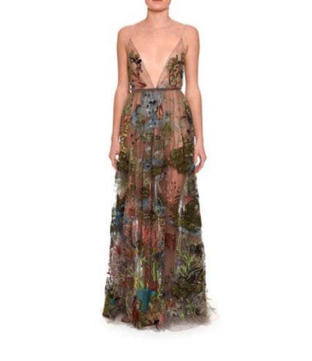 Valentino Embellished Sleeveless V-Neck Gown from Neiman Marcus