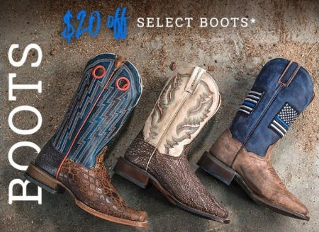 $20 Off Select Boots for Men & Women from Boot Barn Western And Work Wear