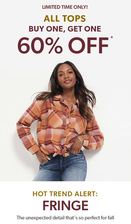 All Tops Buy One, Get One 60% Off from maurices