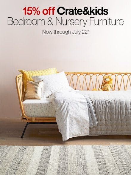 15% Off Crate&kids Bedroom & Nursery Furniture