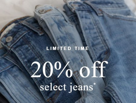 20% Off Select Jeans from Abercrombie & Fitch