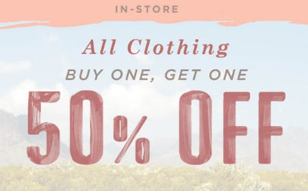 BOGO 50% Off All Clothing from Earthbound Trading Co