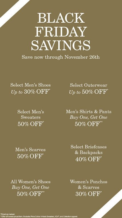 Thanksgiving/Black Friday Sales from JOHNSTON & MURPHY