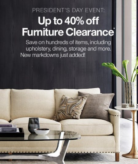 Up to 40% Off Furniture Clearance from Crate & Barrel