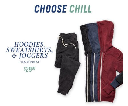 Hoodies, Sweatshirts, & Joggers Starting at $29.99 from Men's Wearhouse