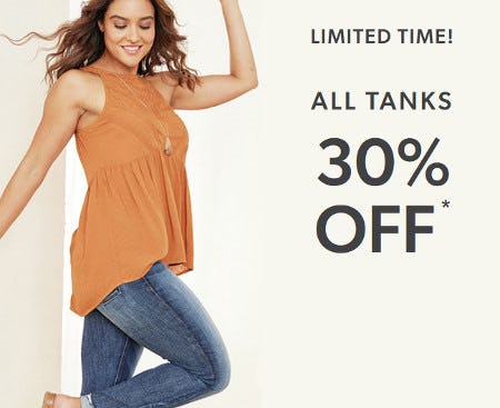 All Tanks 30% Off from maurices