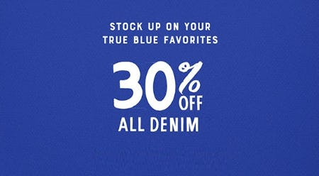 30% Off All Denim from Lucky Brand Jeans