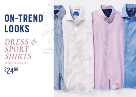 Dress & Sport Shirts Starting at $24.99 from Men's Wearhouse