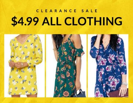 $4.99 All Clearance Clothing from Charming Charlie